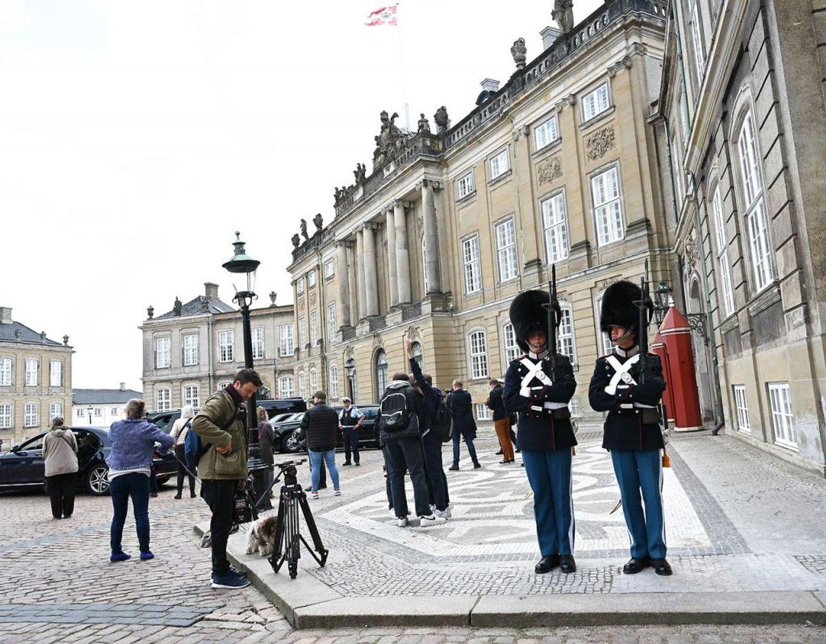 Dronning Margrethe og kronprins Frederik modtager USA's udenrigsminister Antony Blinken på Amalienborg i København, mandag den 17. maj 2021. Foto: Scanpix.