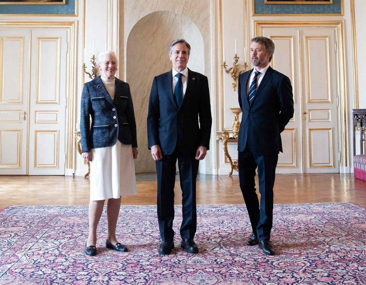 Antony Blinken var i audiens hos Dronning Margrethe. Foto: SAUL LOEB / Scanpix.