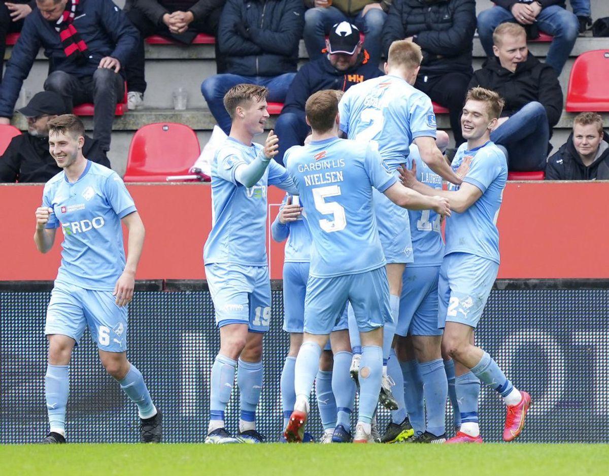 Randers scorede to gange, men fik det ene mål annulleret. Kampen mod FC Midtjylland endte 1-1. Foto: Claus Fisker/Ritzau Scanpix