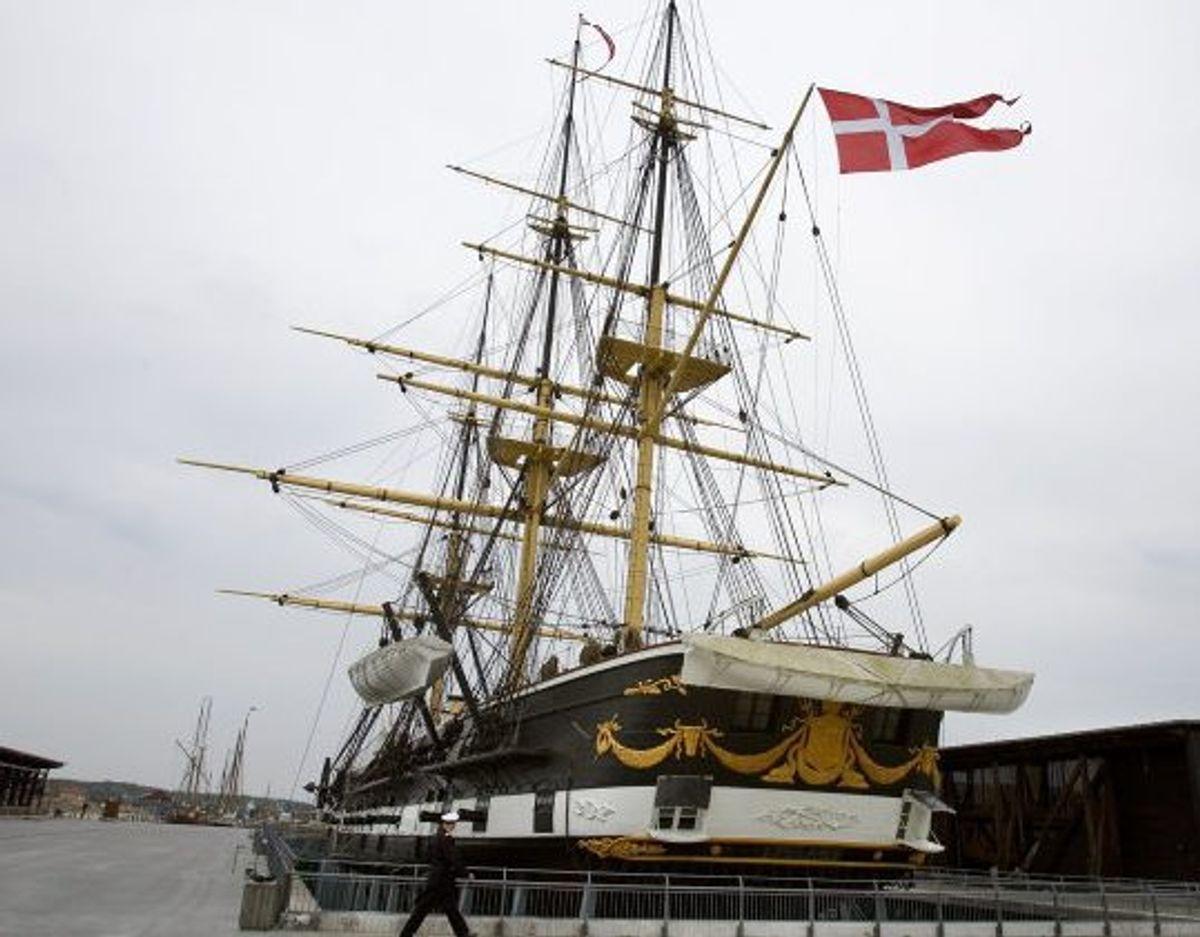 Fregatten Jylland, der blev søsat i 1860, regnes for at være verdens længste bevarede træskib. (Arkivfoto) Foto: Henning Bagger/Scanpix