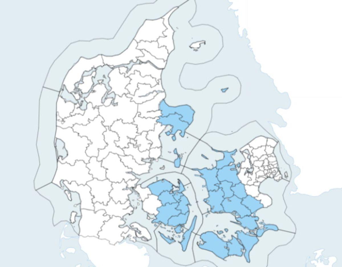 De områder, der er markeret med blå, er omfattet af meldingen. Foto: DMI.