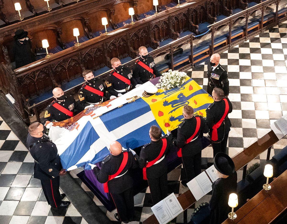 Prins Philip blev stedt til hvil i St Georges Chapel den 17. april. Foto: Scanpix/Dominic Lipinski/Pool via REUTERS
