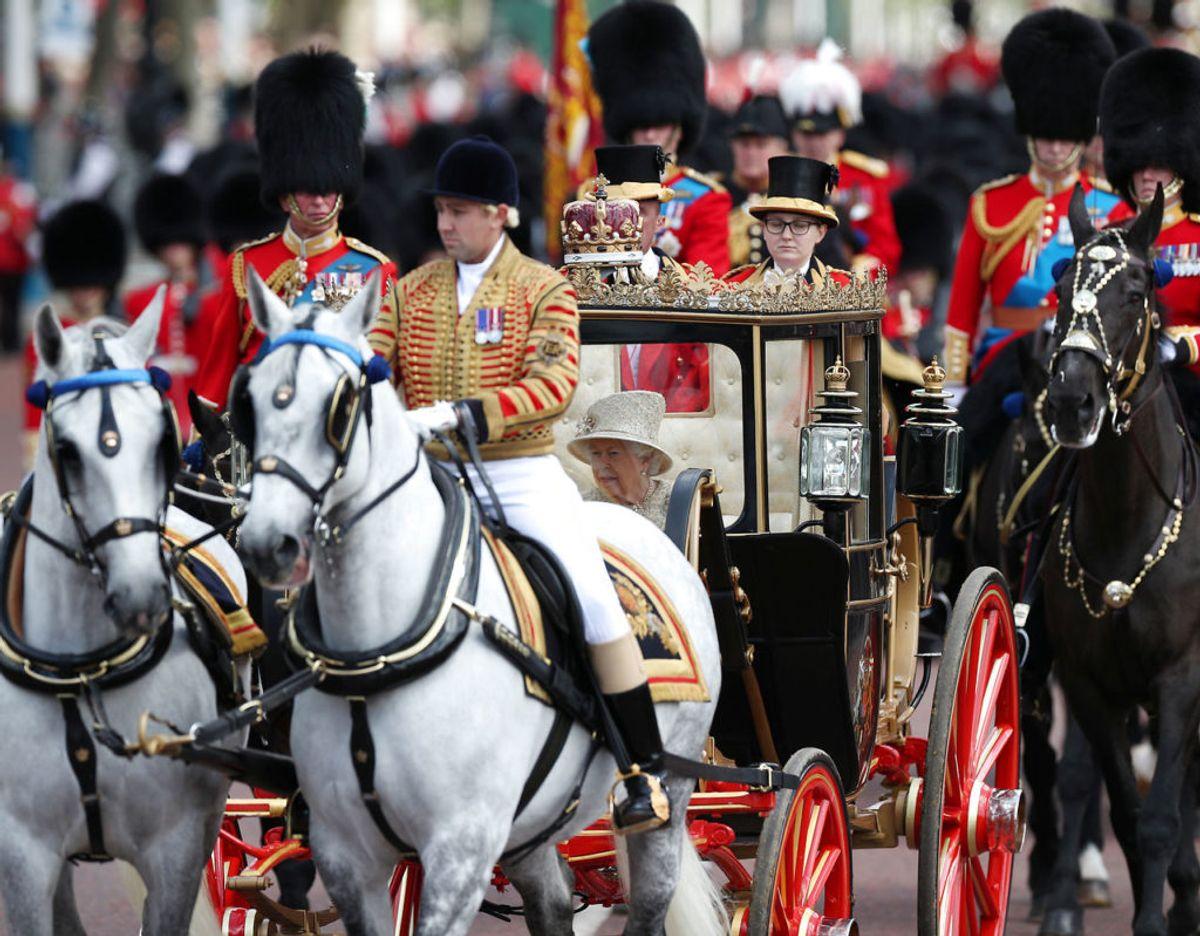 Dronningens jubilæumsfest, der strækker sig over dagene den 2. til 5. juni indledes med det traditionelle Trooping the Colour. Foto: Scanpix/REUTERS/Hannah Mckay