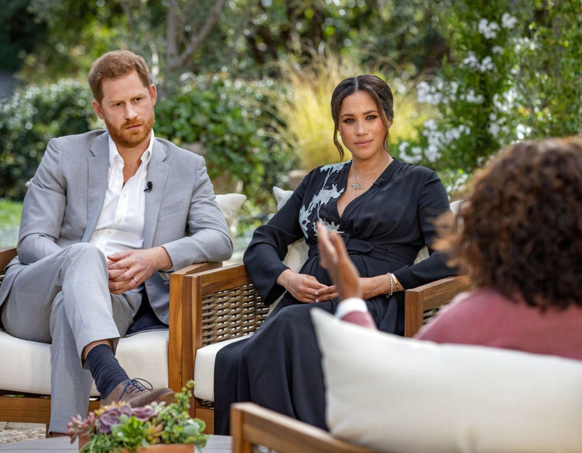 Harry og Meghan under interviewet med Oprah Winfrey. Foto: Scanpix/Harpo Productions/Joe Pugliese/Handout via REUTERS/File Photo