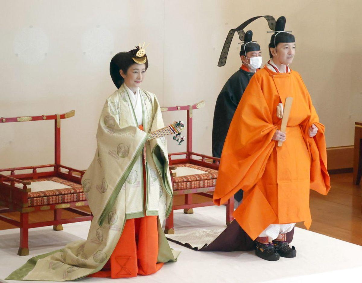 Kronprins Fumihito og kronprinsesse Kiko ved ceremonien den 8. november. Klik videre i galleriet for flere billeder. Foto: Scanpix/ EPA/JAPAN / POOL JAPAN