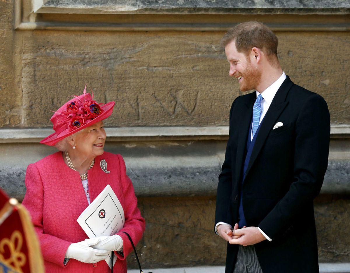 Billedet her er fra maj 2019, hvor alt endnu var fryd og gammen mellem dronningen og prins Harry. Foto: Scanpix/Steve Parsons/Pool via REUTERS