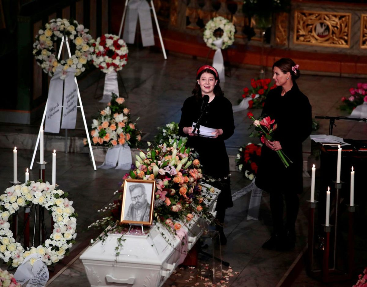 Maud Angelica Behn holder talen ved sin fars kirke i Oslo Domkirke den 3. januar. Klik videre i galleriet for flere billeder. Foto: Scanpix/NTB/Hakon Mosvold Larsen via REUTERS