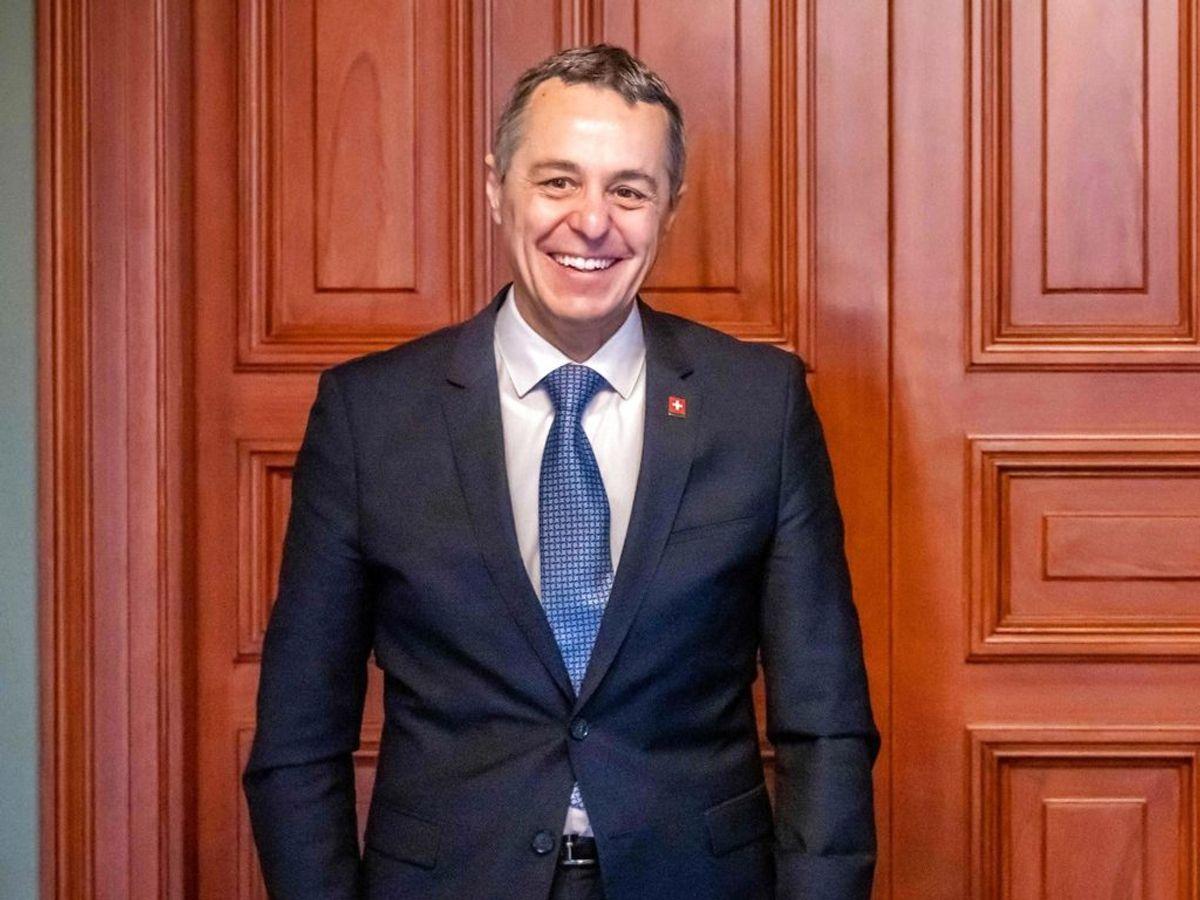 Det er den schweiziske Udenrigsminister Ignazio Caissis, der besøger København. Foto: Ole Berg-Rusten / NTB / AFP) / Norway OUT
