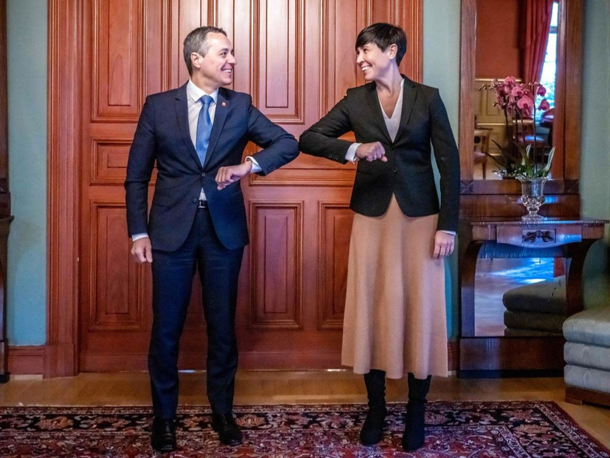 Torsdag besøgte Ignazio Cassis Oslo, hvor den norske udenrigsminister tog imod ham. Foto: Ole Berg-Rusten / NTB / AFP) / Norway OUT