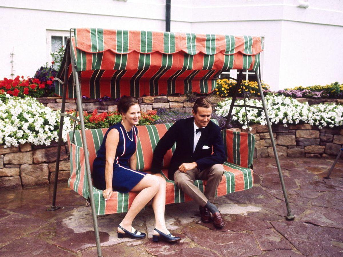1968: Tronfølgeren Prinsesse Margrethe og prins Henrik på Marselisborg Slot. Foto: Willy Henriksen / SCANPIX