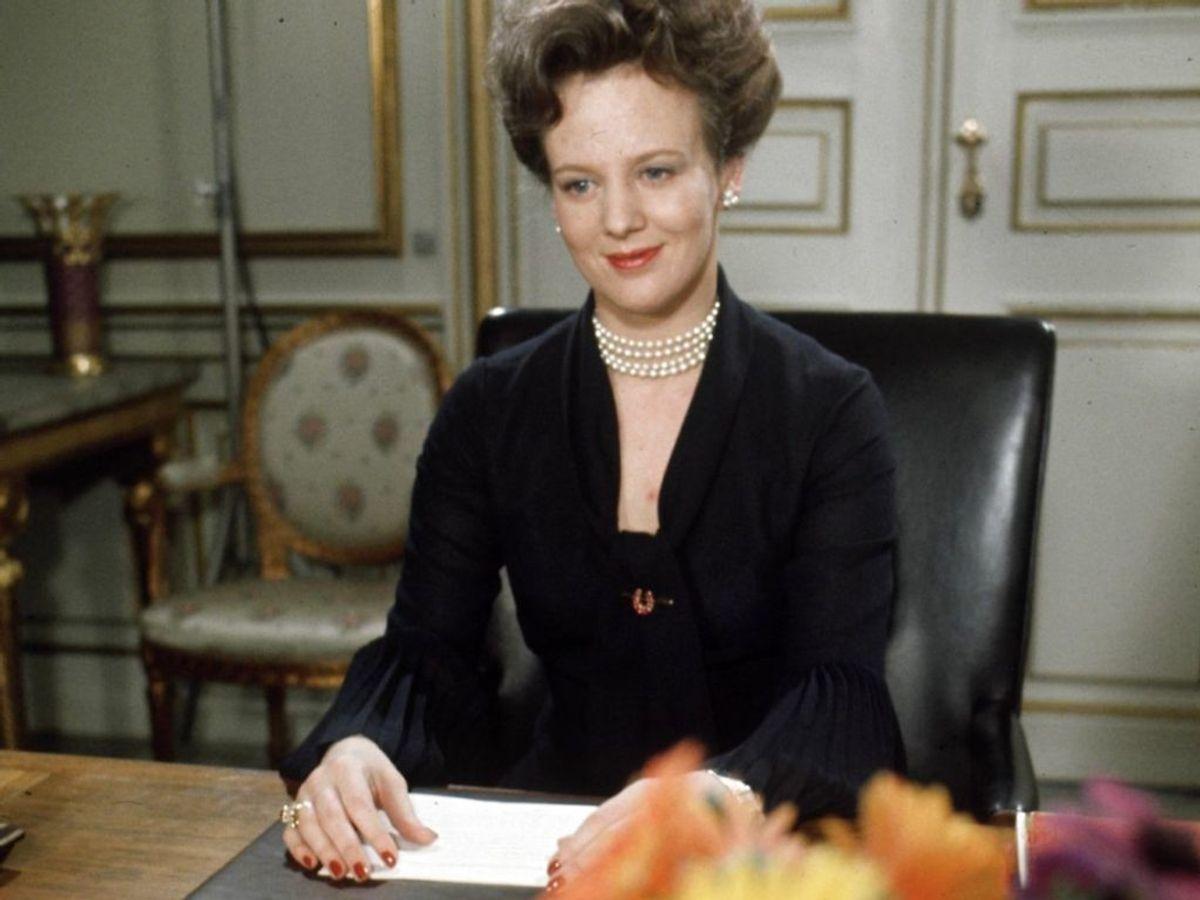 1972: Dronning Margrethes første TV-transmitterede nytårstale. Foto: Steen Jacobsen / SCANPIX