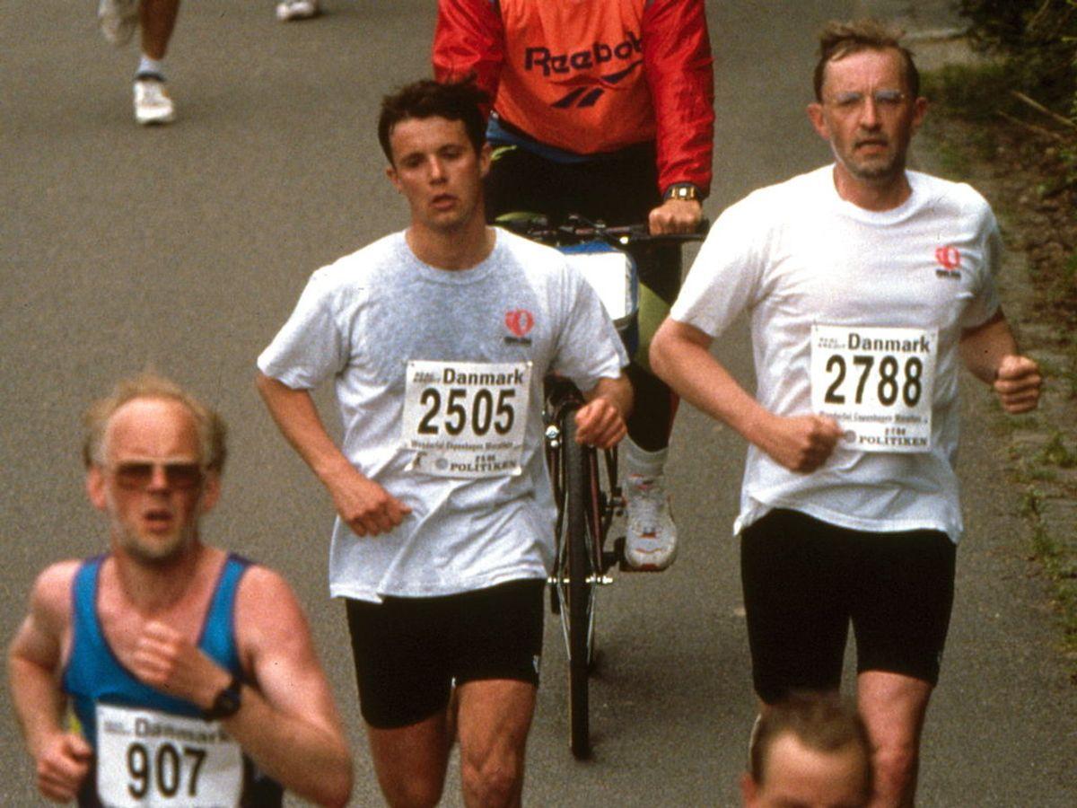 1994: Kronprins Frederik løber Copenhagen Marathon. Foto: Thomas Sjørup / SCANPIX