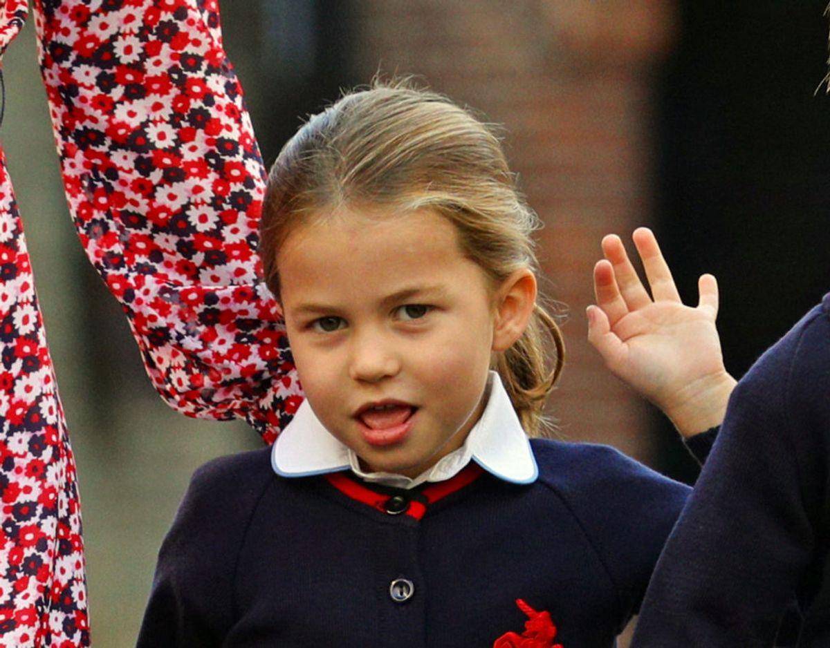 Selskabet var for mødre til børn, der er starten  i indskolingen på Thomas's school i Battersea denne sommer. Det er hertugindens mellemste barn, prinsesse Charlotte. Klik videre for flere billeder. Foto: Scanpix/Aaron Chown/Pool via REUTERS