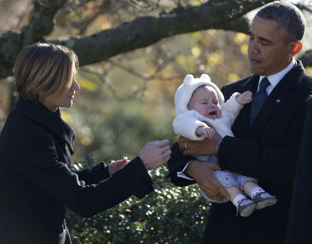Her ses Maeve Kennedy med tidligere præsident af USA Barack Obama i 2013. Foto: REUTERS/Jason Reed