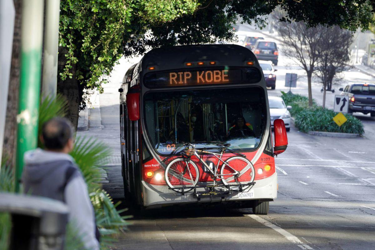 Pyntet bus i Los Angeles. Foto: Kyle Grillot/scanpix.