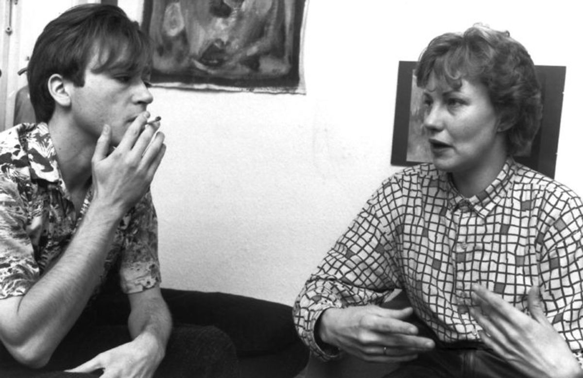 Litteraturforsker Anne Marie Mai og digteren Michael Strunge.