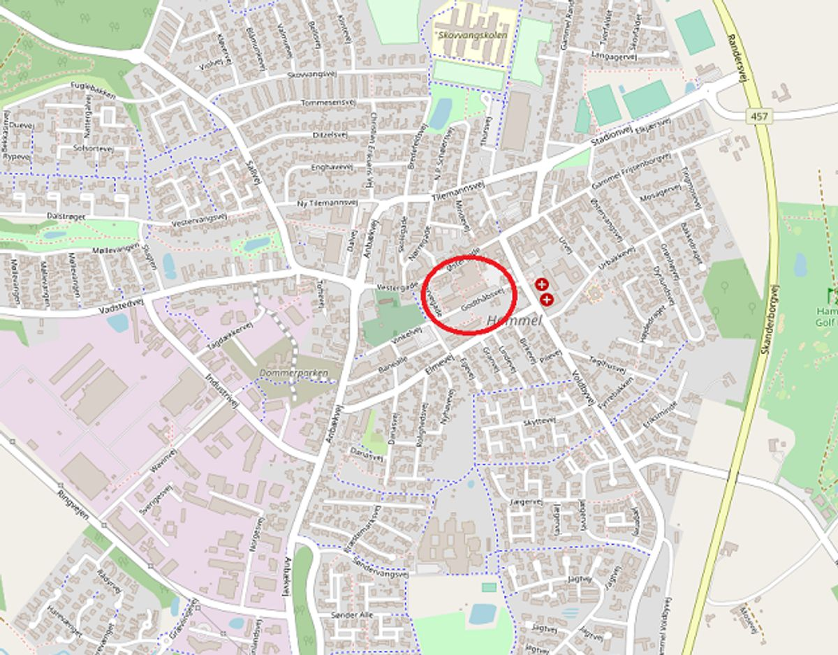 Uge 35: Centerkiosken, Østergade 20, Hammel 1.000.000 kroner. Foto: ©OpenStreetMap-bidragsydere.