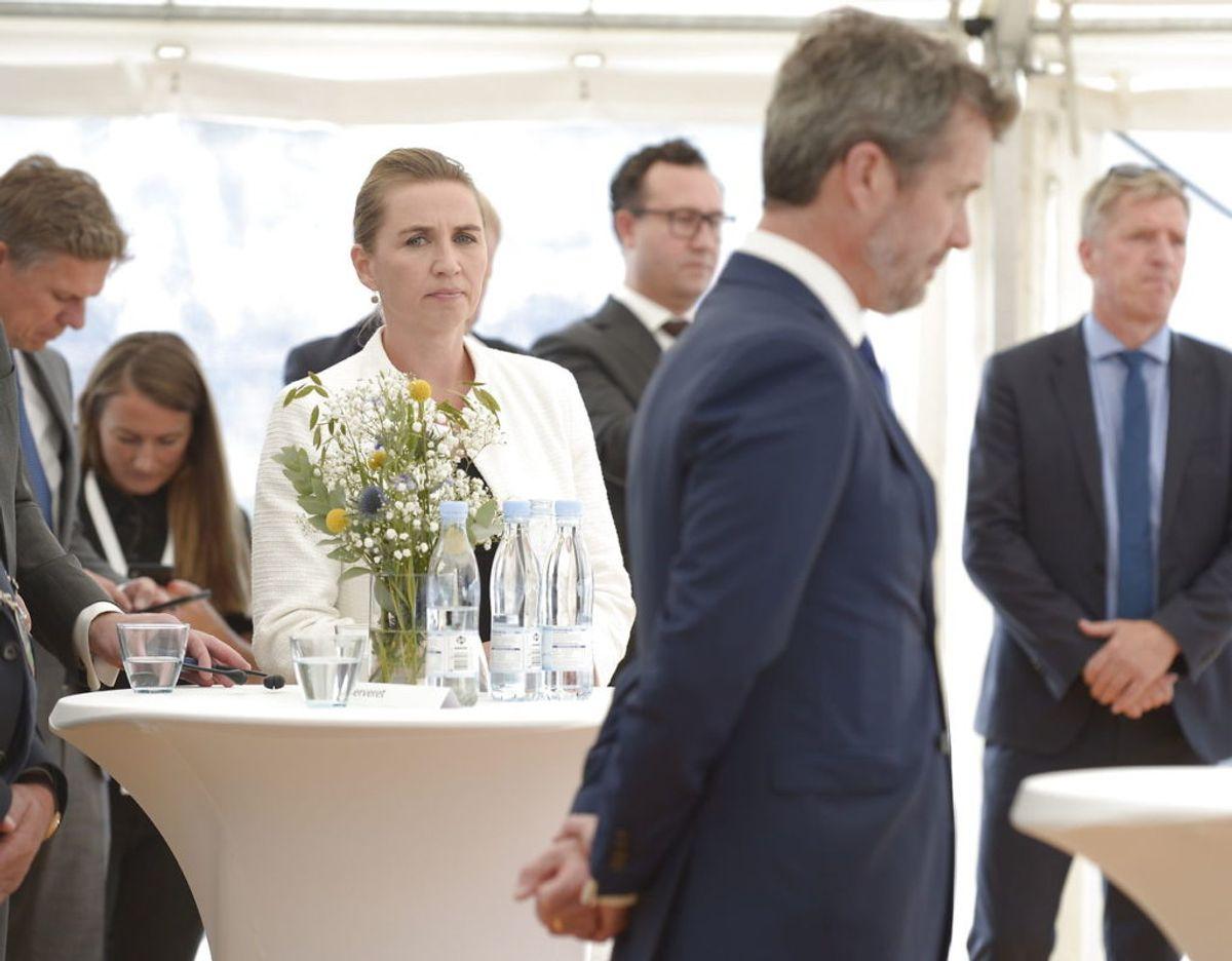 Kronprins Frederik åbnede torsdag Horns Rev 3, der er Skandinaviens største havmøllepark. Til indvielsen var også statsminister Mette Frederiksen, klima-, energi- og forsyningsminister Dan Jørgensen. Foto: Scanpix