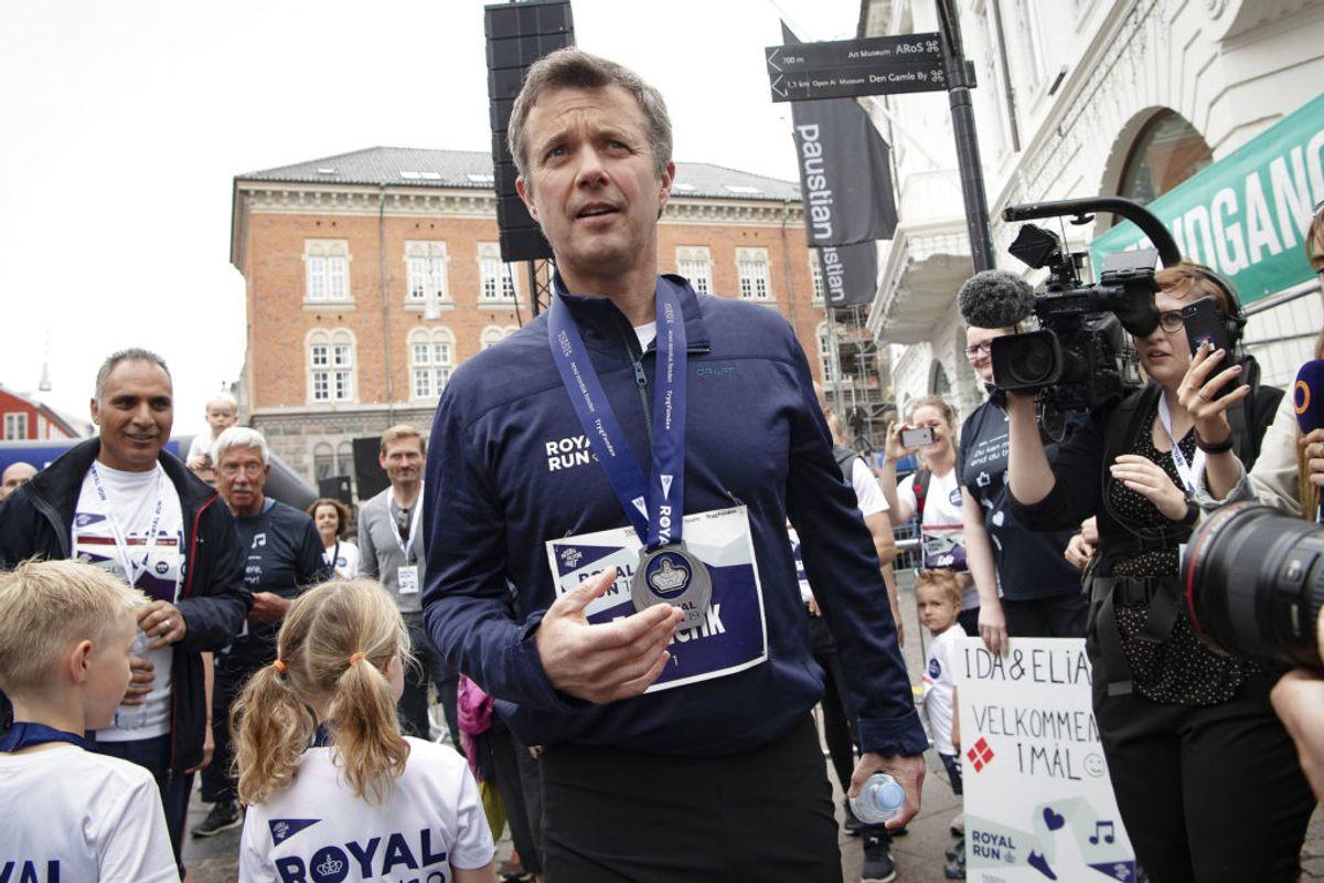 Kronprins Frederik løber One Mile under Royal Run i Aarhus, mandag den 10. juni 2019.. (Foto: Bo Amstrup/Ritzau Scanpix)