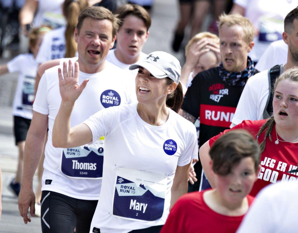 Kronprinsesse Mary efter at have løbet One Mile med Julemærkebørn under Royal Run i Aalborg, mandag den 10. juni 2019., torsdag 9. maj 2019.. (Foto: Henning Bagger/Ritzau Scanpix)