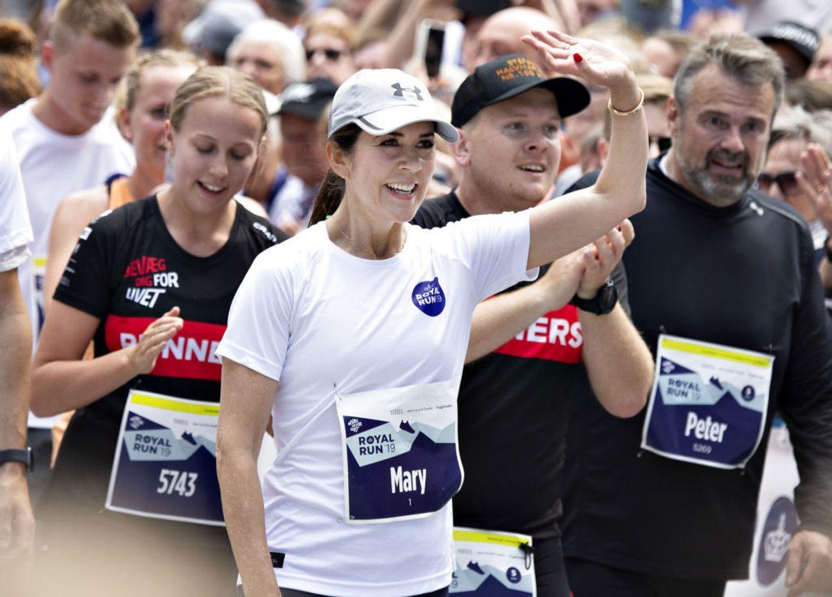 Kronprinsesse Mary efter at have løbet 5 km. Royal Run i Aalborg, mandag den 10. juni 2019., torsdag 9. maj 2019.. (Foto: Henning Bagger/Ritzau Scanpix)