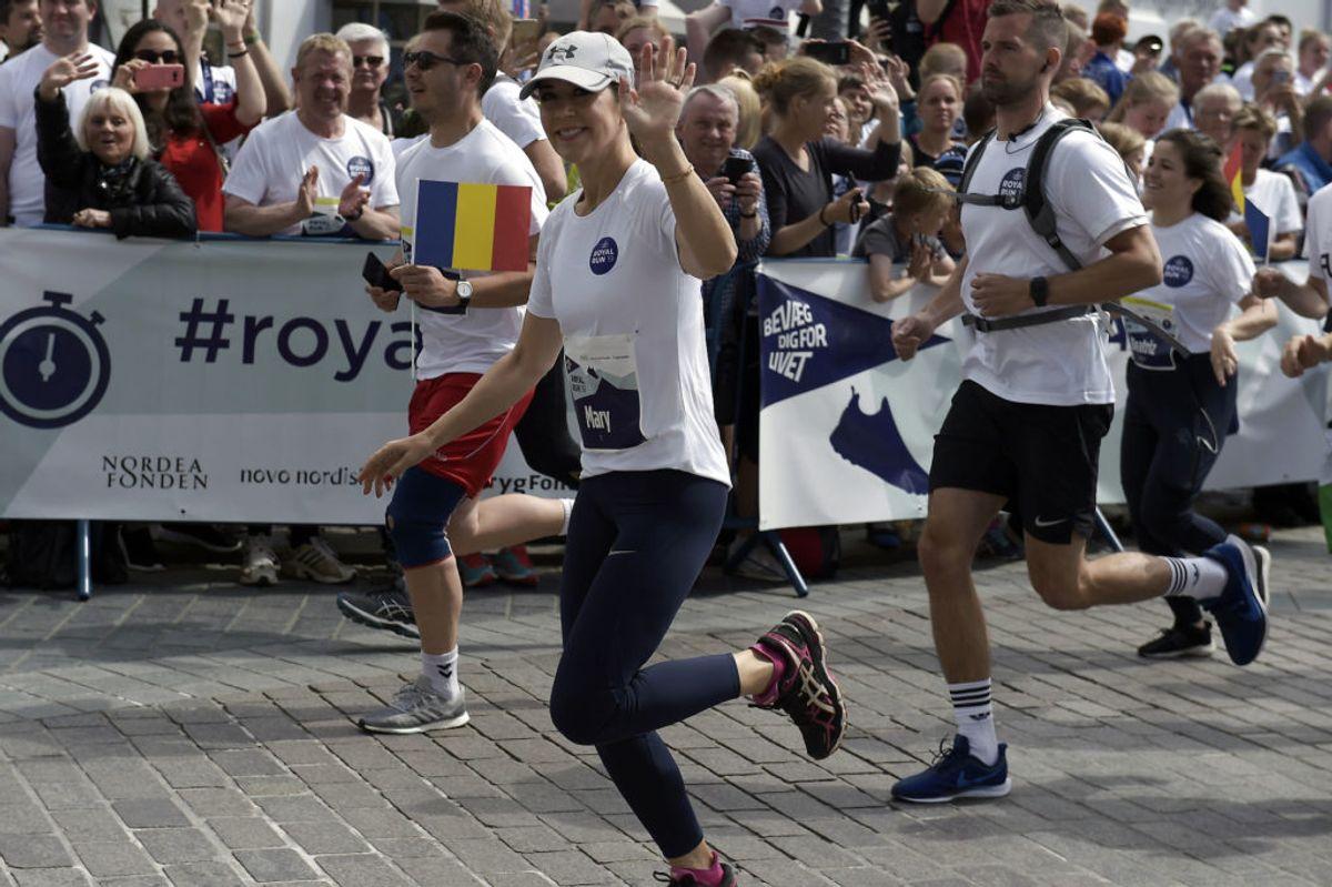 Kronprinsesse Mary løber 5 km. Royal Run i Aalborg, mandag den 10. juni 2019.. (Foto: Henning Bagger/Ritzau Scanpix)