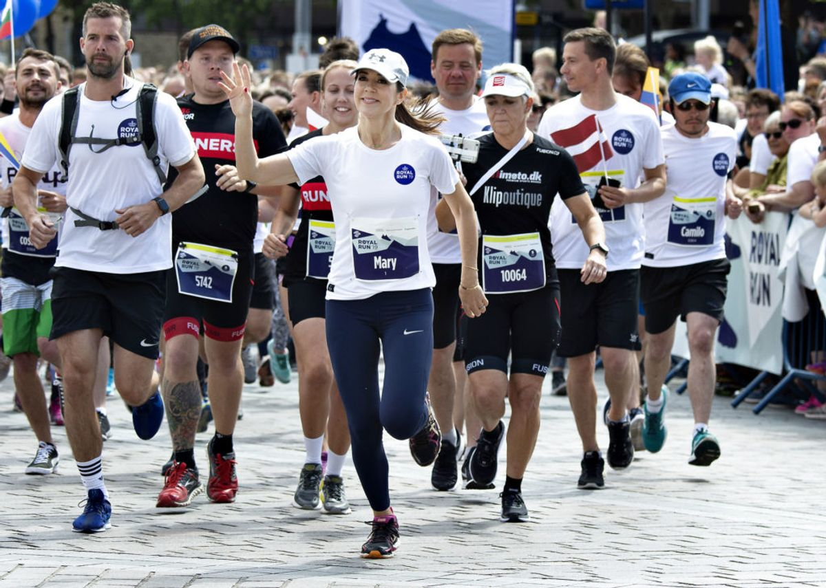 Kronprinsesse Mary løber 5 km. Royal Run i Aalborg, mandag den 10. juni 2019., torsdag 9. maj 2019.. (Foto: Henning Bagger/Ritzau Scanpix)