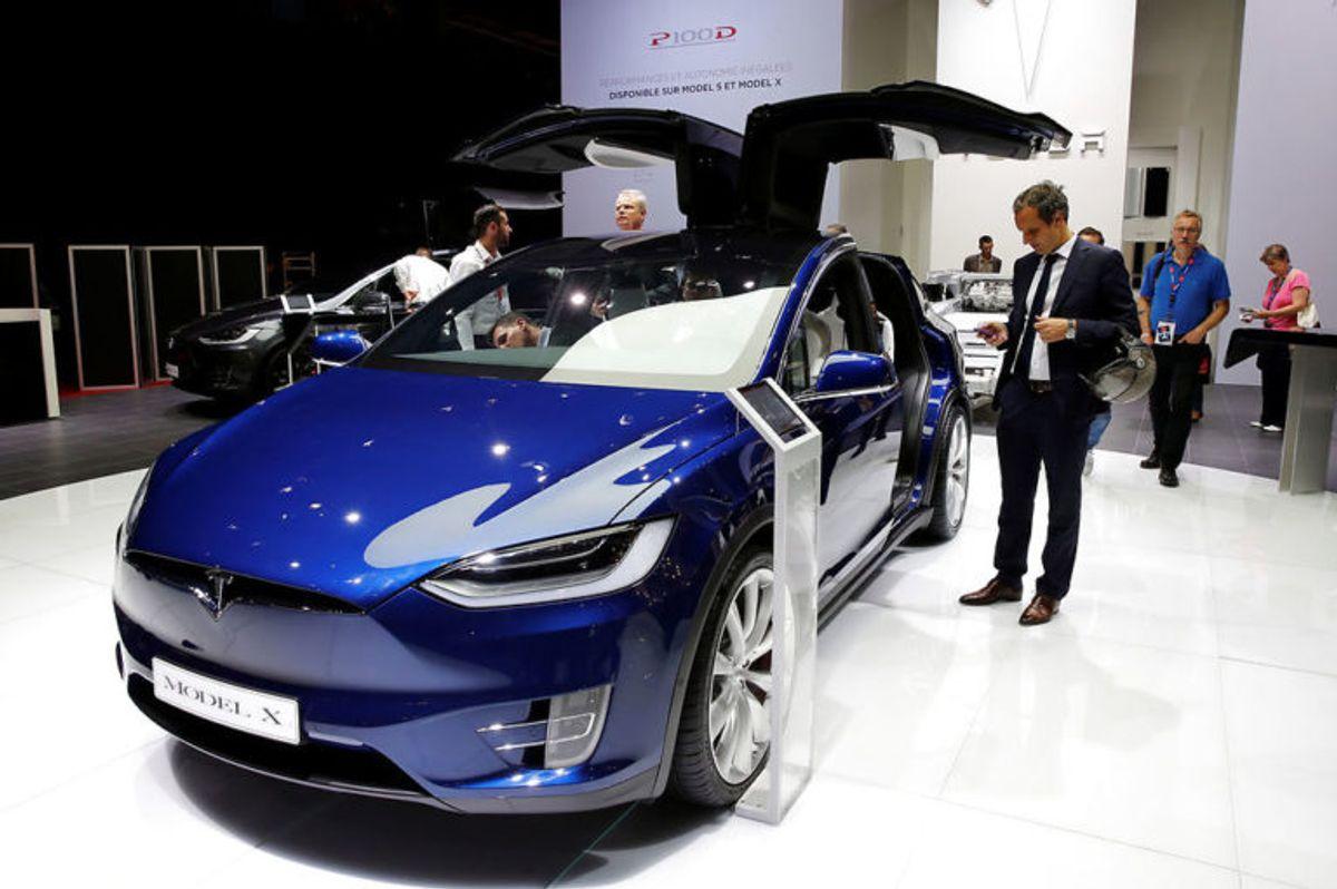 Ifølge Eb.dks billeder foregik påkørslen i en Tesla Model X. Foto: Scanpix