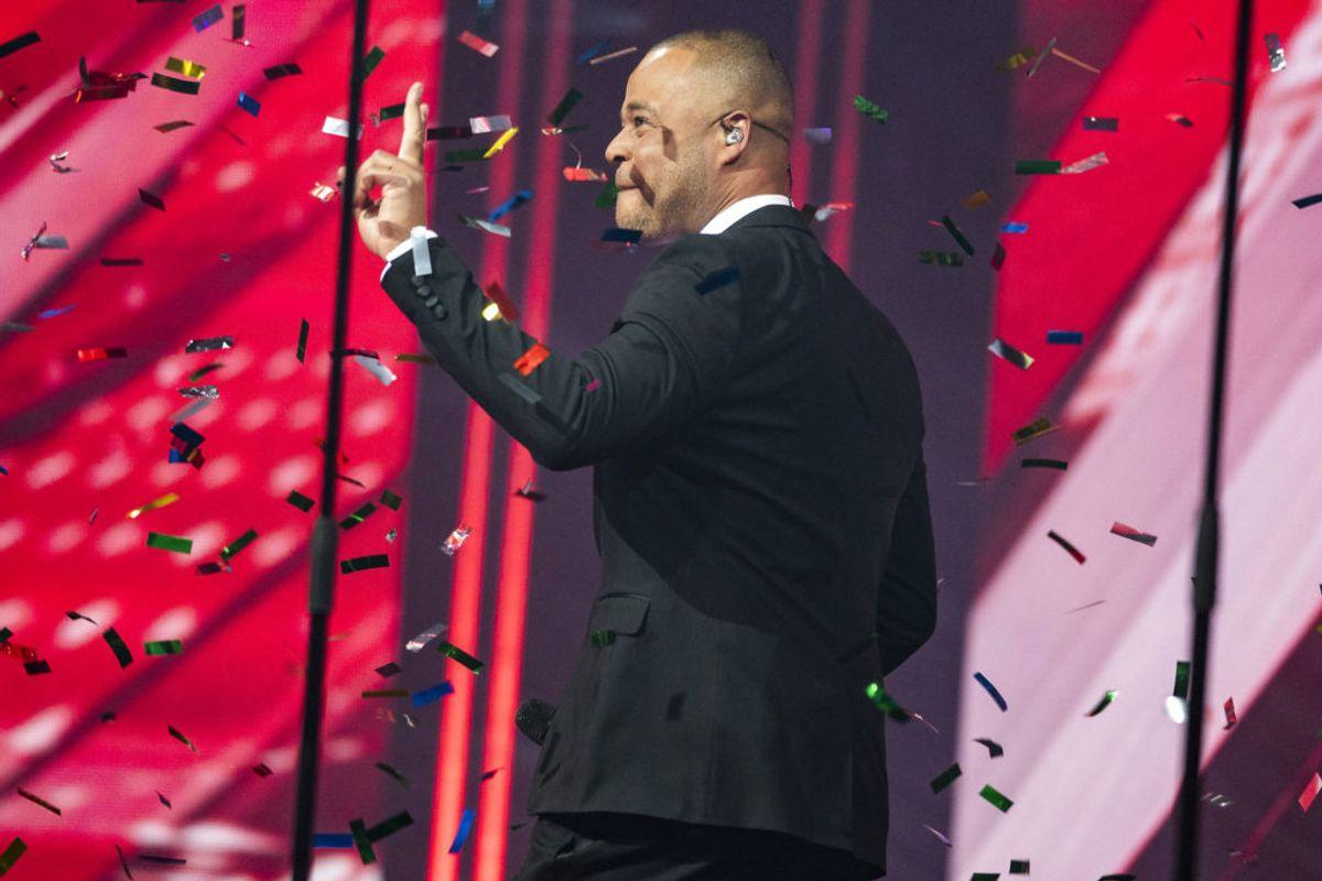 Remee på scenen ved X Factor. X Factor 12, Liveshow 6, Fredag d. 5. april 2019. (foto: Martin Sylvest/Ritzau Scanpix 2019)
