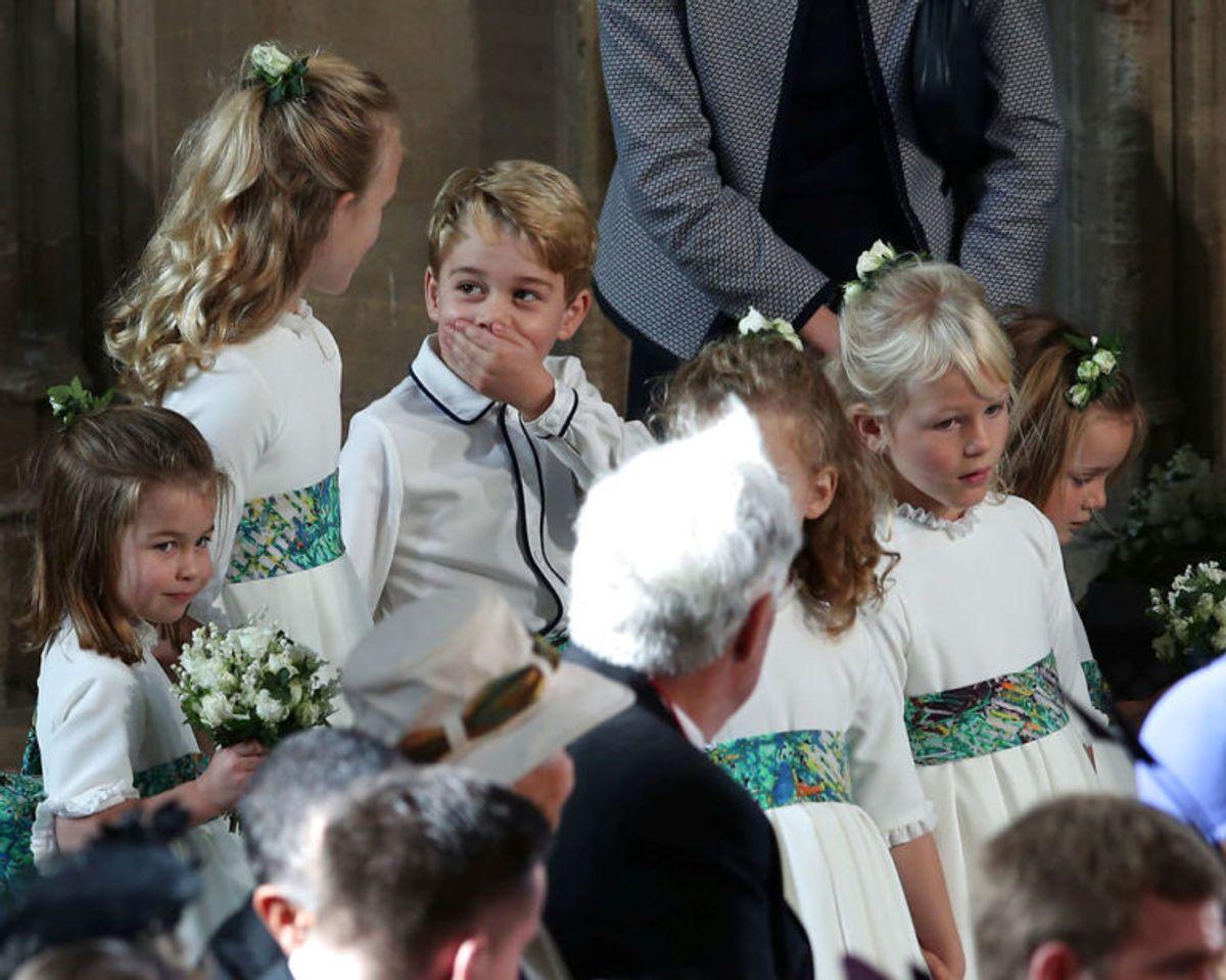 Prins George og prinsesse Charlotte var begge med til brylluppet. Foto: Scanpix