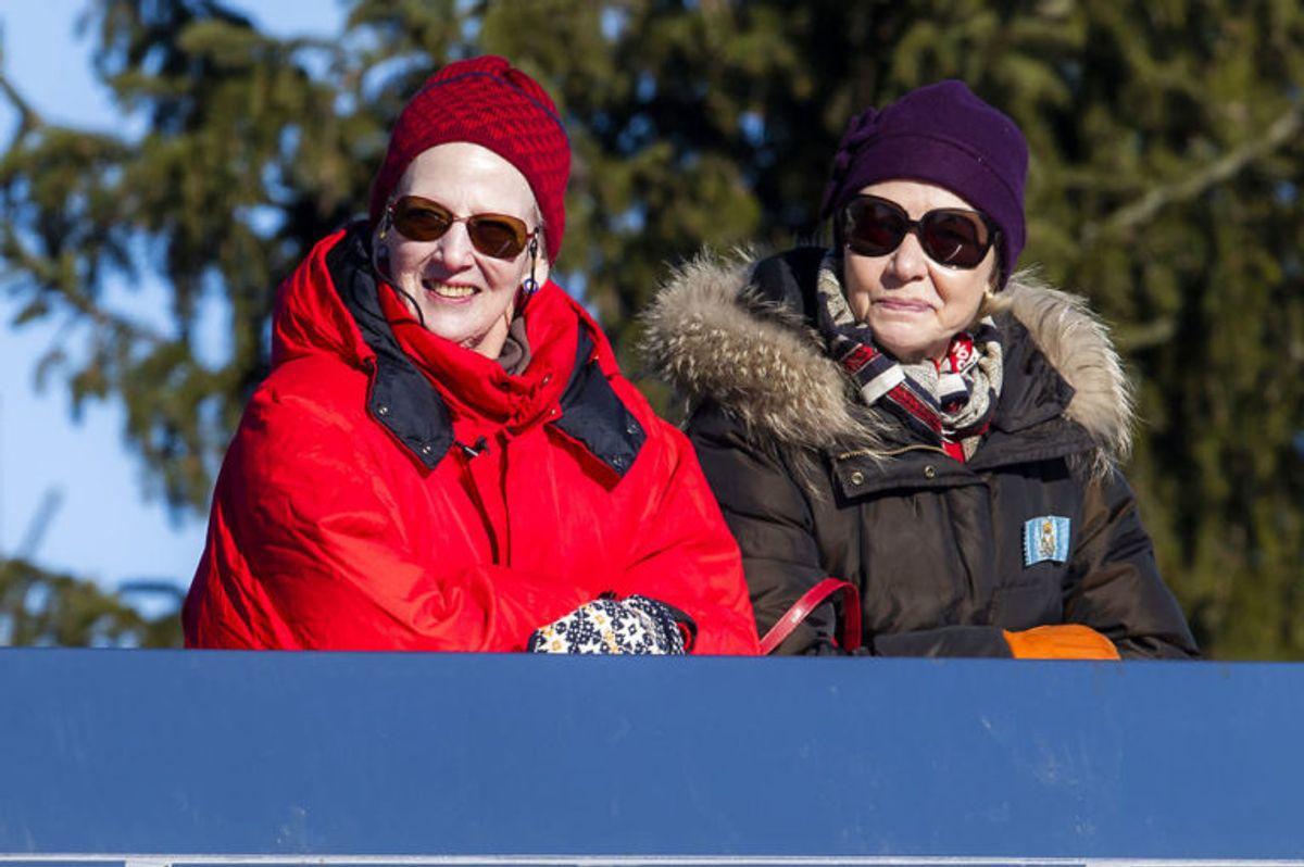 Dronning Margrethe på kongetribunen under det ikoniske arrangement søndag. Foto: Scanpix