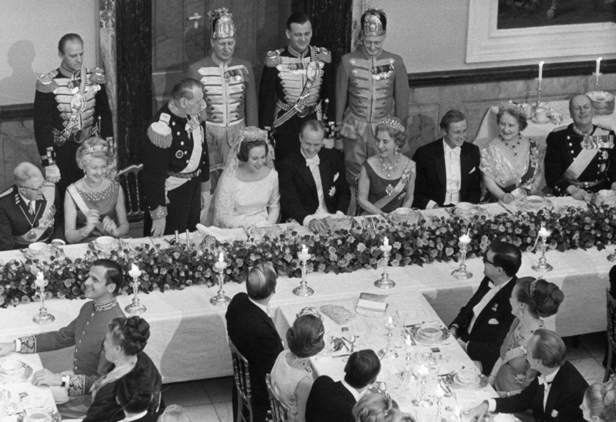 Fra festmiddagen ved prinsesse Benediktes bryllup med Prins Richard, 3. februar 1968. Foto: Scanpix.