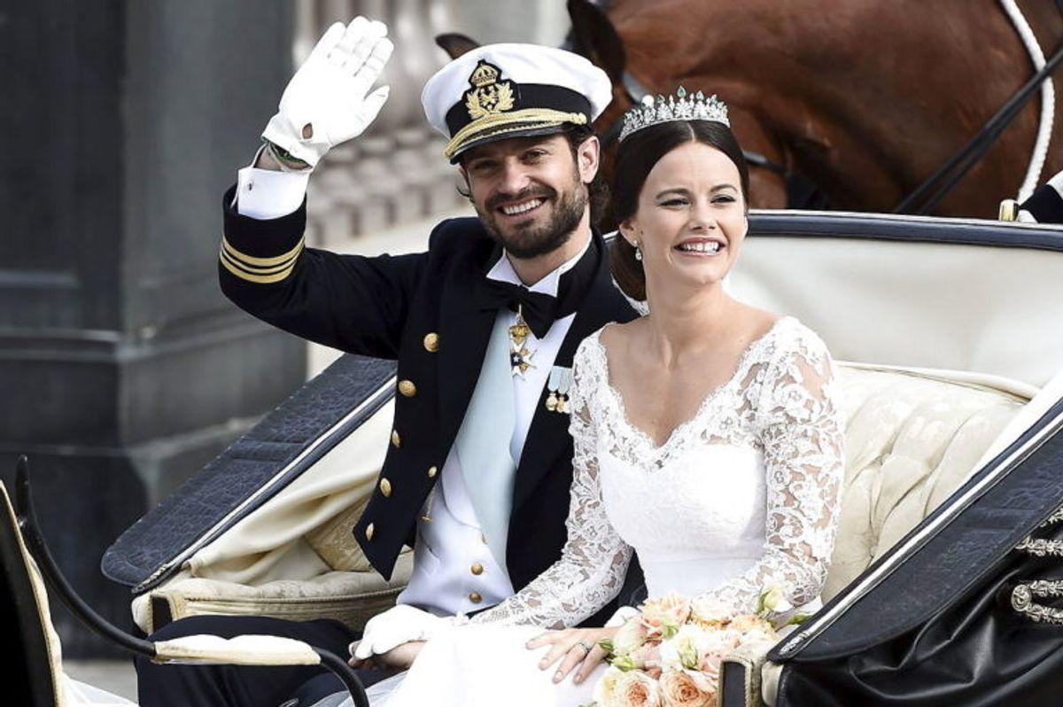 Her ses Carl Philip og Sofia Hellqvist til parrets bryllup. Foto: Scanpix