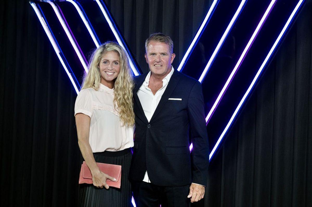 Rolf Sørensen og Karina Frimodt ved pressemødet på Vild med Dans på TV2 i København, onsdag den 22. august 2018.. (Foto: Liselotte Sabroe/Ritzau Scanpix)