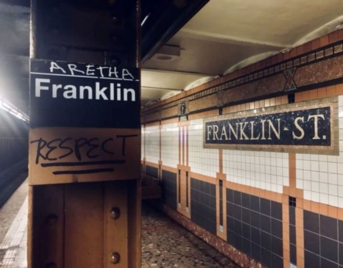 I New Yorks undergrund er Franklin Street-stationen nu dedikeret til Aretha. Foto: Scanpix