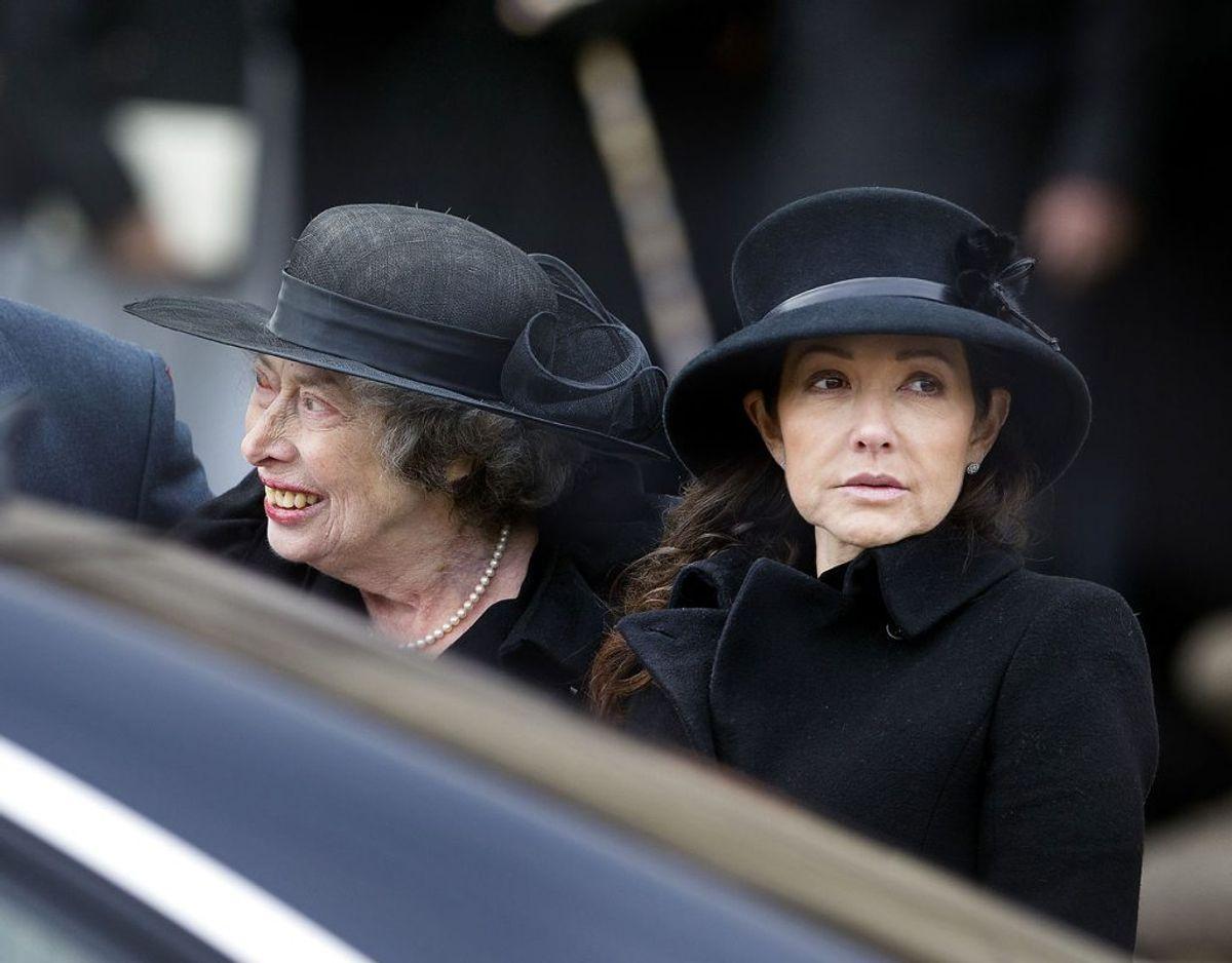 Det seneste billede af prinsesse Elisabeth er fra prins Henriks bisættelse tirsdag den 20. februar. Til højre ses grevinde Alexandra. Foto: Liselotte Sabroe/Scanpix