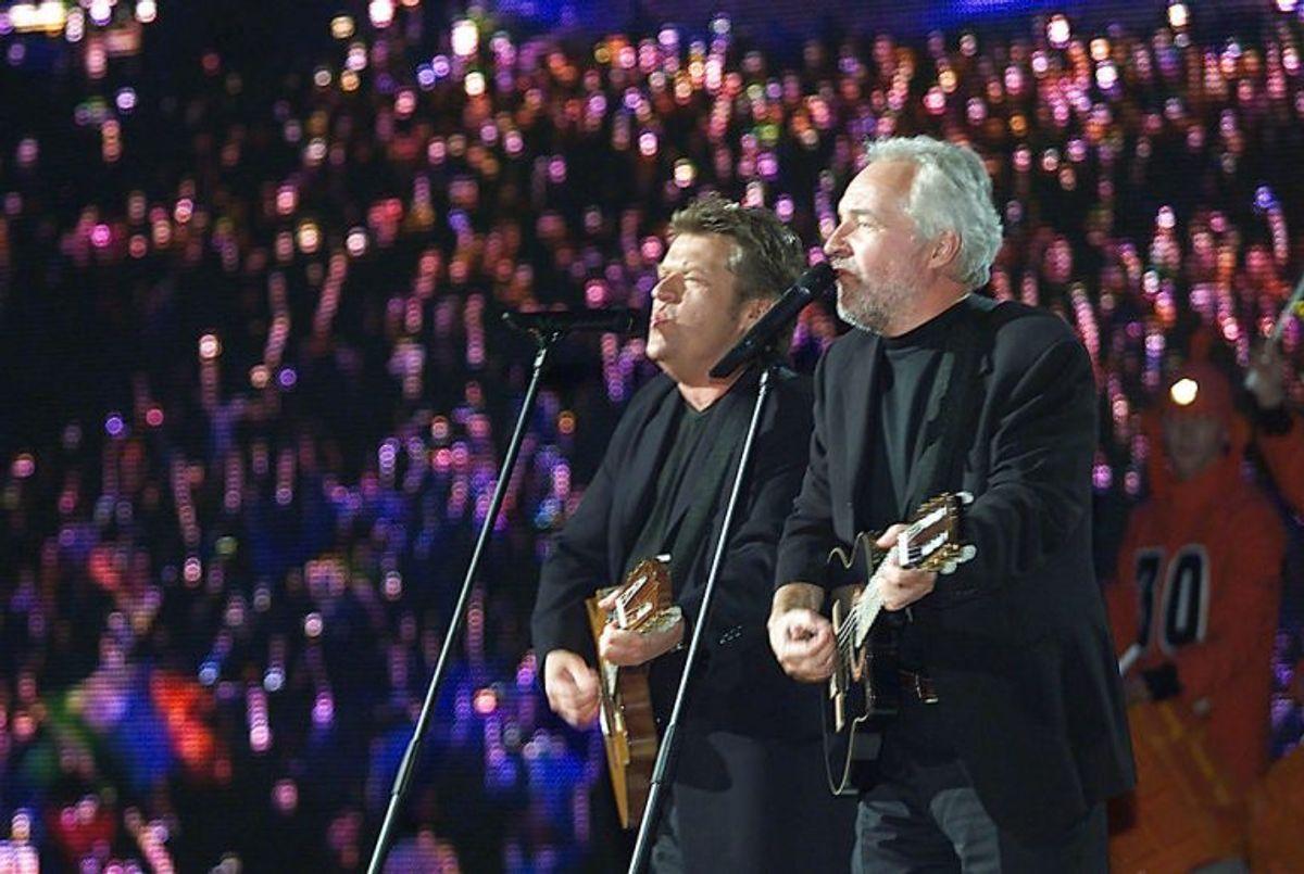 """2000: Brødrene Olsen eller Olsen Brothers, som de hed i Eurovision Song Contest, hev for anden gang nogensinde sejren hjem til Danmark. De sang sig ind i europæernes hjerter med """"Fly on the wings of love"""". Foto: Peter Mueller/Scanpix (Arkivfoto)"""