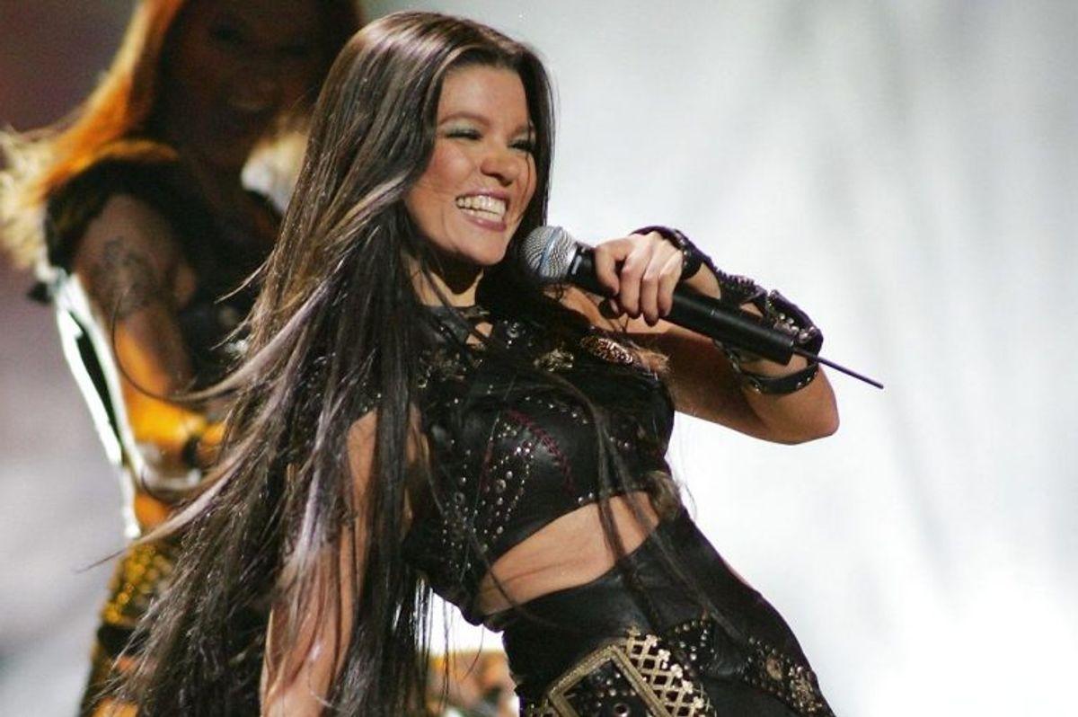 """2004: Så blev det Ukraines tur til for første gang, at vinde Eurovision Song Contest. Ruslana vandt med sangen """"Wild dances"""". Foto: Ethan Miller/Scanpix (Arkivfoto)"""