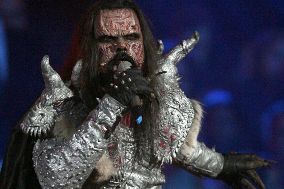 """2006: Finland vandt overraskende Eurovision Song Contest med hård rock. Lordi vandt dette år med """"Hard Rock Hallelujah"""". Foto: Christian Charisius/Scanpix (Arkivfoto)"""