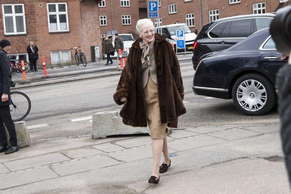 Margrethe ankommer her til Den Gamle By i Aarhus. (Foto: Bo Amstrup/Scanpix 2018)