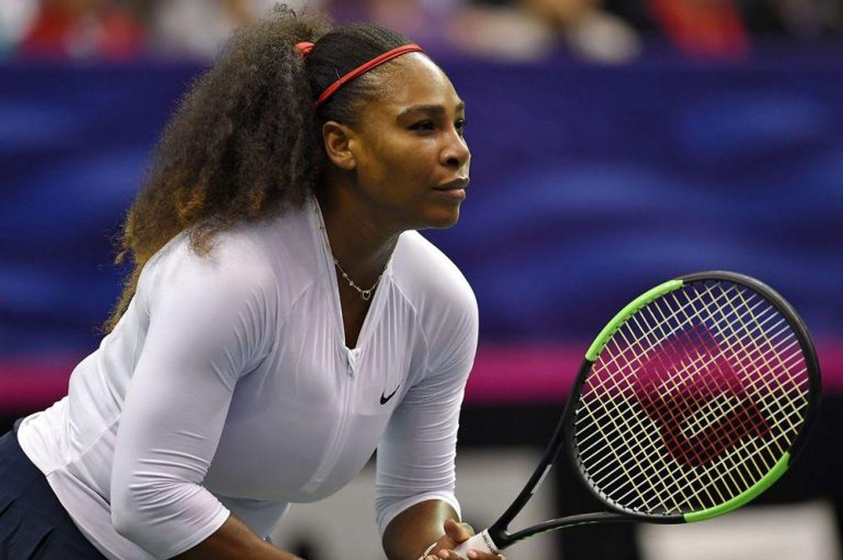 Det seneste foto af Serena Williams, der den 11. februar i år deltog i Fed Cup, som er tennis for landshold. Foto: Richard Shiro/Scanpix