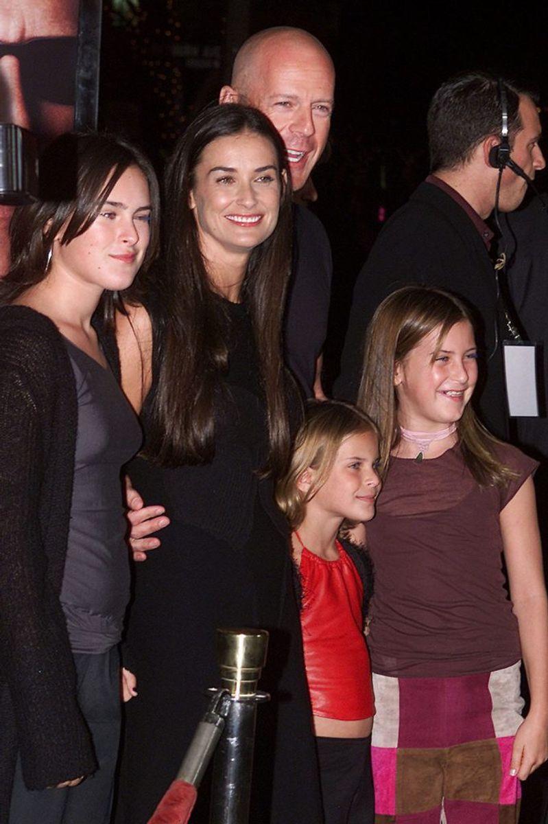 Willis og Moore på et foto fra 2001 sammen med børnene Rumer Glenn, Tallulah Belle and Scout Lane. Arkivfoto: Fred Prouser/Scanpix