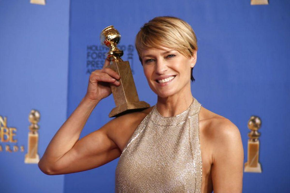 """Også Robin Wright har vundet en Golden Globe for sin rolle i """"House of Cards"""". Alt tyder på, at hun fortsætter i serien. Foto: Lucy Nicholson/Scanpix (Arkivfoto)"""