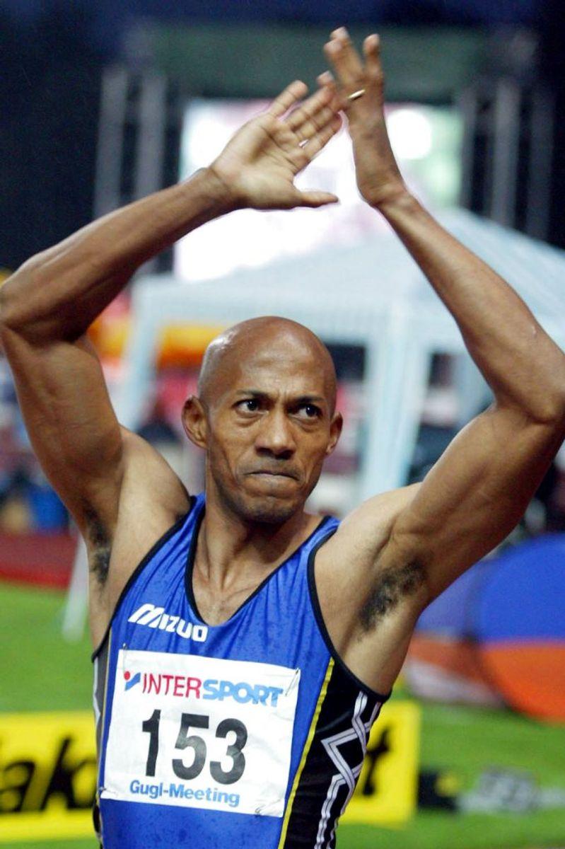 Frankie Fredericks er suspenderet fra IOC. Manden er faktisk den eneste namibier nogensinde, der har vundet en olympisk medalje ved sommerlegene. Og han har endda vundet fire, der alle er af sølv. Foto: Robert Zolles/Scanpix (Arkivfoto)