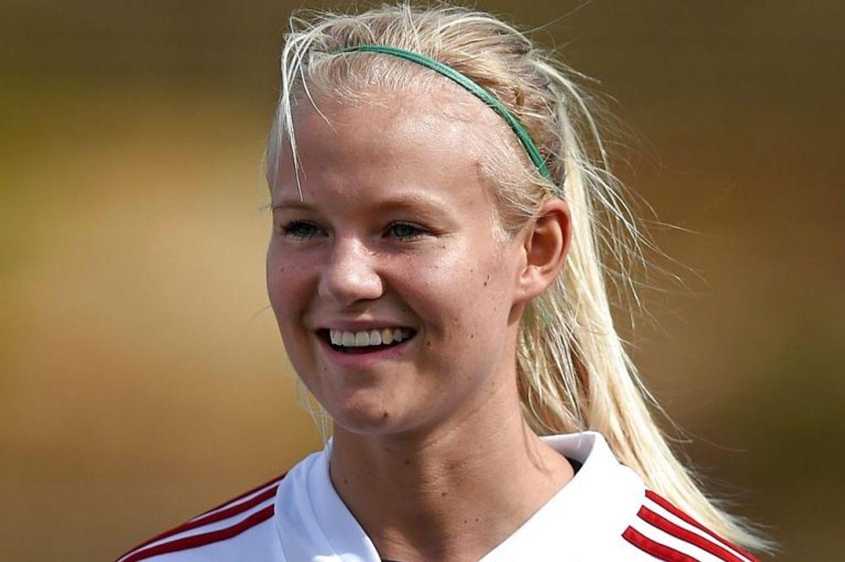 Angriberen Pernille Harder og de øvrige danske landsholdsspillere valgte at udeblive fra mandagens træning i Helsingør. Foto: FRANCISCO LEONG/Scanpix (Arkivfoto)