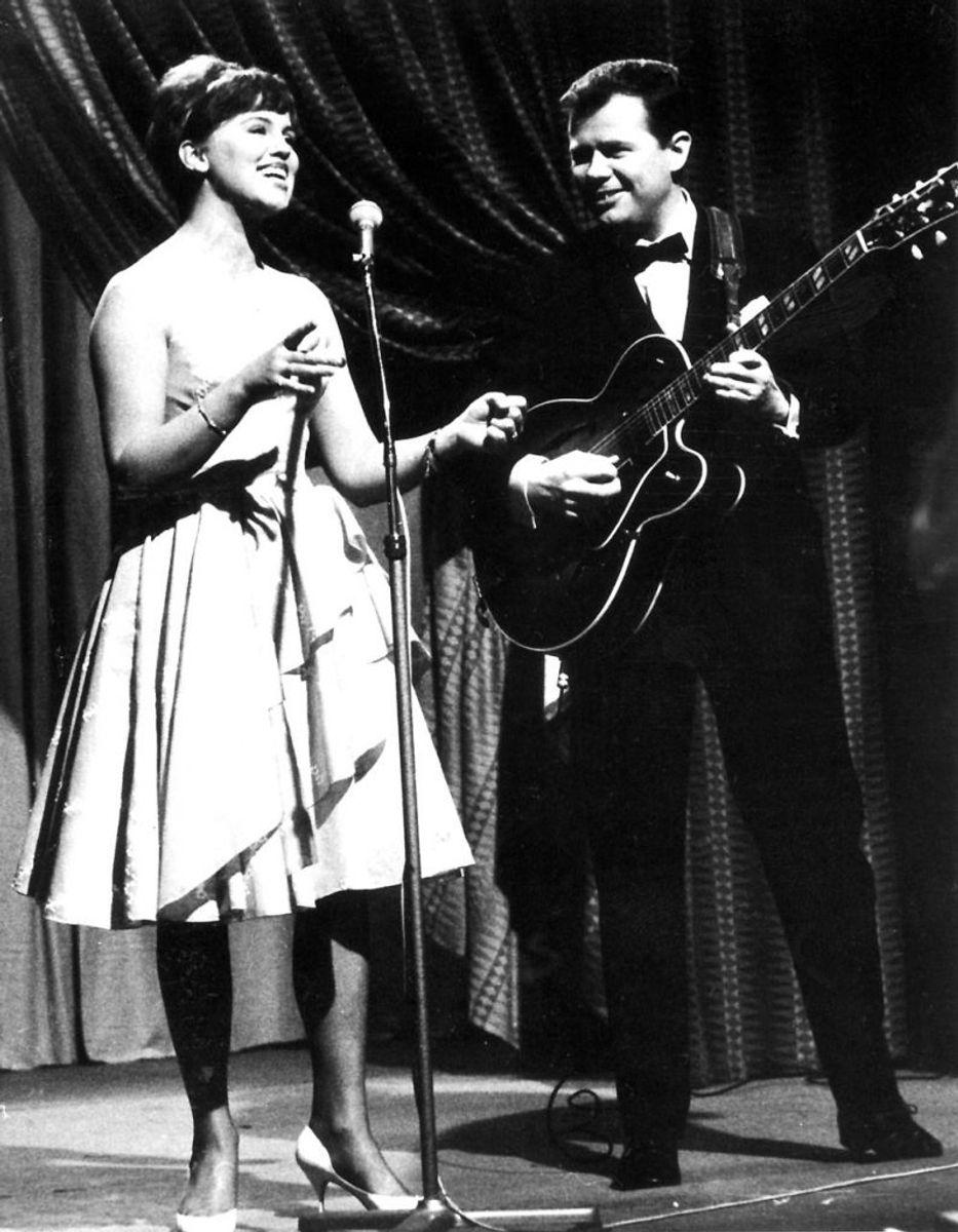 Grethe og Jørgen Ingmann i Dansevise, der vandt Melodi Grand Prix i London i 1963. Foto: Scanpix (Arkivfoto)