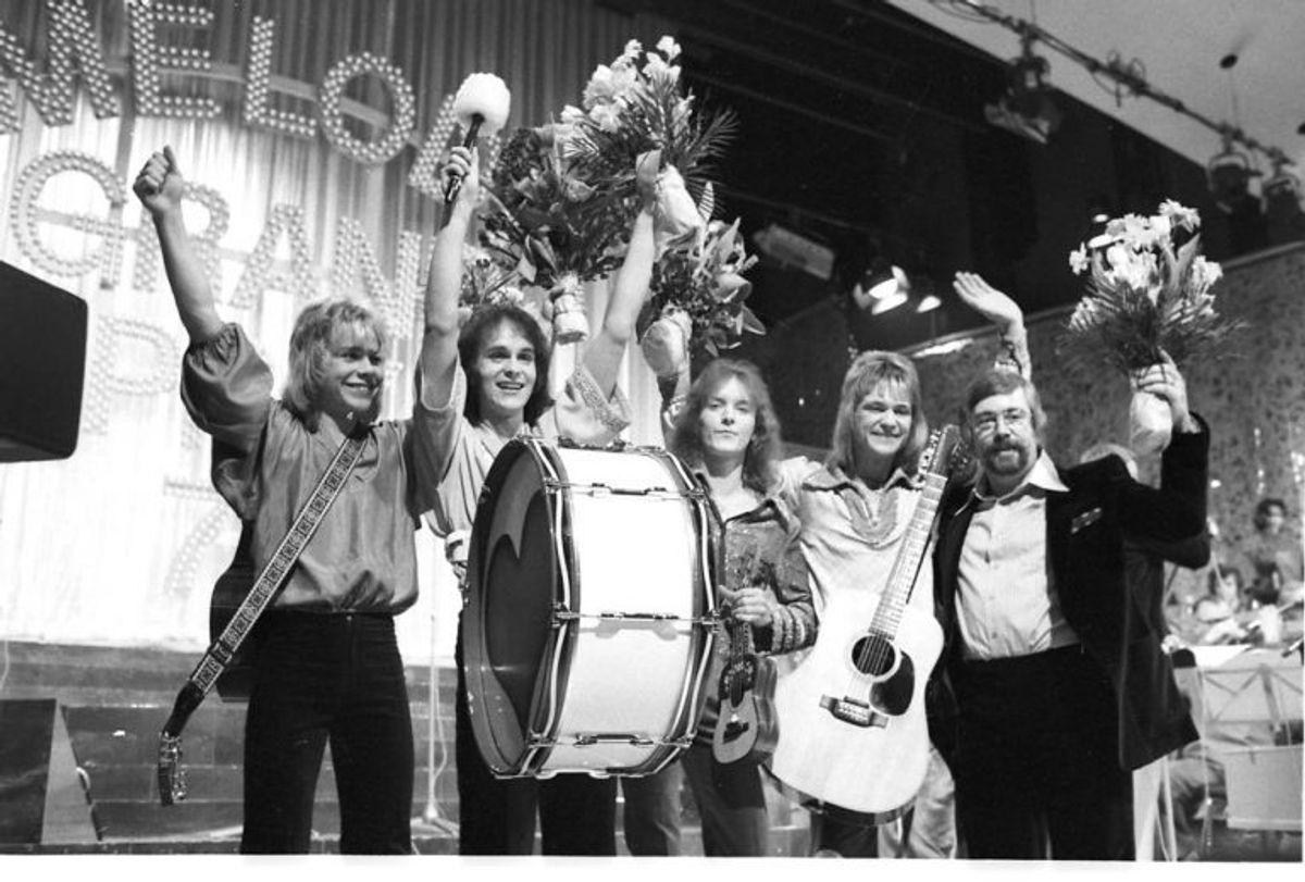 """Gruppen """"Mabel"""" vinder Dansk Melodi Grand Prix 1978 med sangen """"Boom Boom"""". Foto: Bent K Rasmussen/Scanpix (Arkivfoto)"""