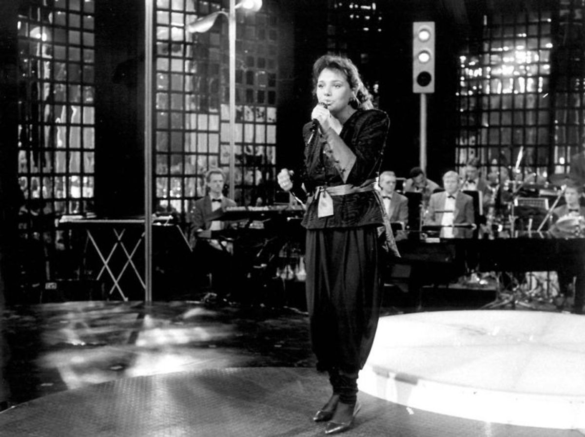 "Anne-Cathrine da hun sang "" En lille melodi "" ved Dansk Melodi Grand prix 1987. Foto: Bent K. Rasmussen/Scanpix (Arkivfoto)"