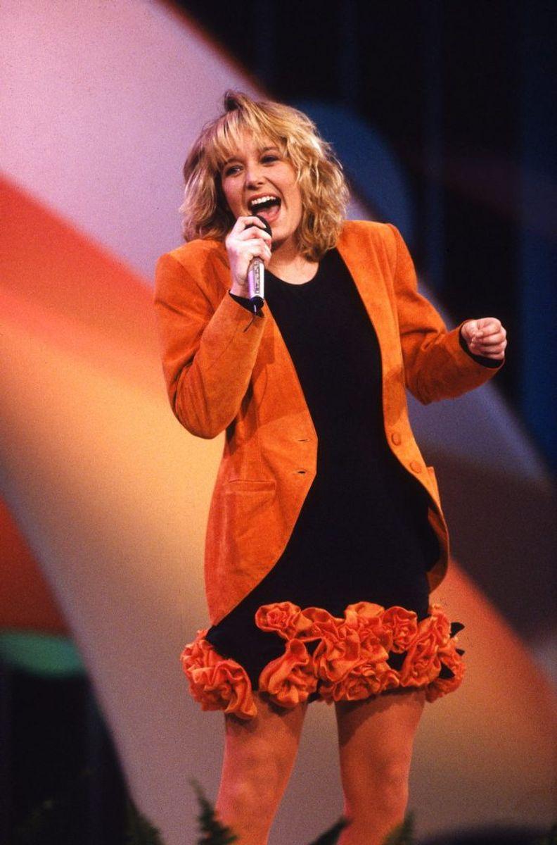 Lonnie Devantier vandt Dansk Melodi Grand Prix 1990 med sangen Hallo Hallo. Foto: Claus Bjørn Larsen/Scanpix (Arkivfoto)