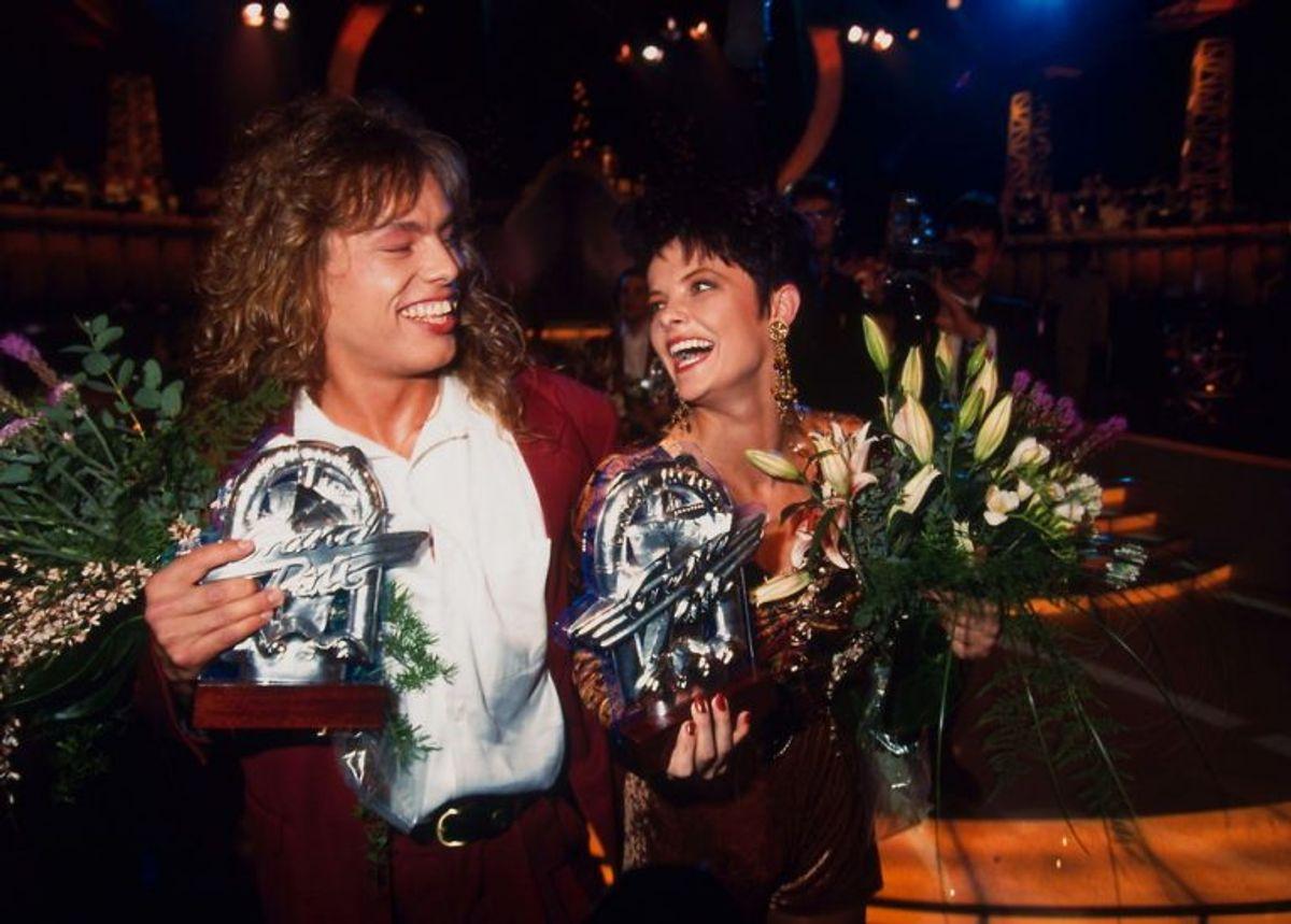 Kenny Luebcke og Lotte (dengang Nilsson, nu Feder)vandt Dansk Melodi Grand Prix 1992. Foto: HENNING BAGGER/SCANPIX (Arkivfoto)